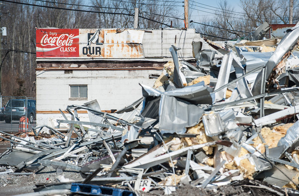 140311 Niagara Produce JOED VIERA/STAFF PHOTOGRAPHER-East Amherst, NY- Scrap metal lays in front of old Niagara Produce building during demolition on Tuesday, Mar. 11th, 2014.