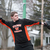140310 Catch JOED VIERA/STAFF PHOTOGRAPHER-Wilson, NY- Wilson High School sophomore Dustin Laubacker  plays catch with his friend on Monday, Mar. 10th, 2014.