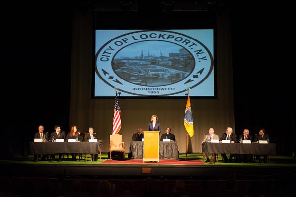 140305 Mayor McCaffrey Inaguration JOED VIERA/STAFF PHOTOGRAPHER-Lockport, NY-Mayor Anne E. McCaffrey delivers her inaguratation speech at the Palace Theater on Wednesday, Mar. 5th, 2014.
