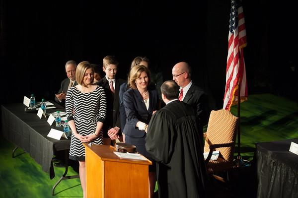 140305 Mayor McCaffrey Inaguration JOED VIERA/STAFF PHOTOGRAPHER-Lockport, NY-Mayor Anne E. McCaffrey is inagurated by Judge William Watson at the Palace Theater on Wednesday, Mar. 5th, 2014.