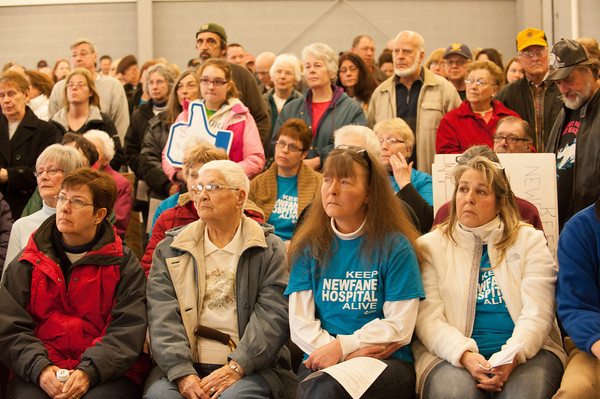 140322 Save the Hospital JOED VIERA/STAFF PHOTOGRAPHER-Newfane, NY-Newfane ralliers listen to speakers at the Miller Fire Co. on Mar. 22, 2014.