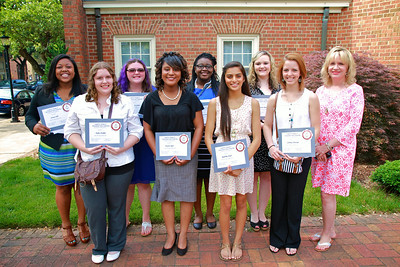Gardner-Webb University partners with the Joseph B. Freeman Jr. Educational Fund to award eight Cleveland County high school students scholarships for college. The presentation was held in front of the Cleveland County Chamber in uptown Shelby, N.C., on May 28.