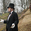 140426 MedinaReenactment VIERA/STAFF PHOTOGRAPHER-Medina, NY-An Abraham Lincoln reenactor delivers the Gettysburg Address at Boxwood Cemetery. April 26, 2014.