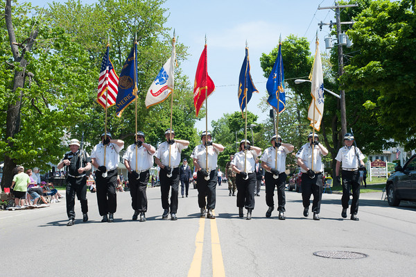 140525 Parade JOED VIERA/STAFF PHOTOGRAPHER-Lockport, NY-The Color guard marches in the Memorial day parade  May 25, 2014.