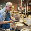 140501 Craft Day JOED VIERA/STAFF PHOTOGRAPHER-Middleport, NY- Russell Halstead works on pottery in his workshop. April 30, 2014