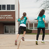 140425 Girls on a Run JOED VIERA/STAFF PHOTOGRAPHER-Pendleton, NY- Starpoint 6th grader Jocelyn Fike (11) and her teacher Danielle Alterio(right) practice for a 5km event. April 25, 2014.