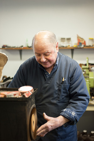 140319 Macaluso JOED VIERA/STAFF PHOTOGRAPHER-Lockport, NY-Vincent Macaluso polishes a boot at his shop on Mar. 19 2014.