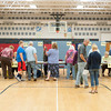 140520 Newfane School Vote JOED VIERA/STAFF PHOTOGRAPHER-Newfane, NY-newfane town residents line up to check in and vote during the school board elections at the Newfane Elementary School gym. May 20, 2014