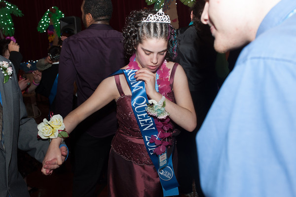 140516 Boces prom JOED VIERA/STAFF PHOTOGRAPHER-Lockport, NY-Orleans Niagara Boces lifeskills student and Prom Queen Kim Wiley dances at the school districts prom. May 16, 2014