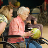 140515 Broidy Bowls JOED VIERA/STAFF PHOTOGRAPHER-Lockport, NY-Joanie Costello watches as Genevieve Smiszek 100 a Broidy Health Care Facility resident bowls at Allie Brant Lanes. May 15, 2014