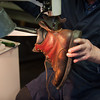 140319 Macaluso JOED VIERA/STAFF PHOTOGRAPHER-Lockport, NY-Vincent Macaluso repairs a boot at his shop on Mar. 19 2014.