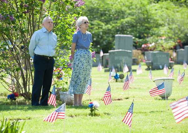 140525 Memorials JOED VIERA/STAFF PHOTOGRAPHER-Lockport, NY-Charles and Joan Wheeler observe the Memorial Day ceremony at Cold Spring cemetary. May 25, 2014.