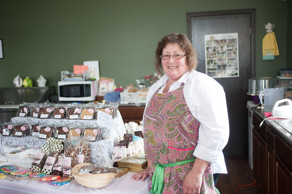140515 Barker Chocolate JOED VIERA/STAFF PHOTOGRAPHER-Lockport, NY-Cindy Jex stands by her chocolates at the Old City Hall Tea Parlor. May 14, 2014