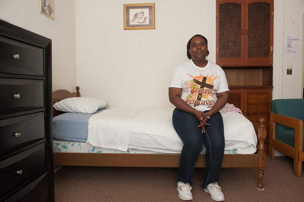 140516 Constance JOED VIERA/STAFF PHOTOGRAPHER-Lockport, NY- Constance Thornton sits on the bed she stayed in during her time at the shelter. May 8 2014