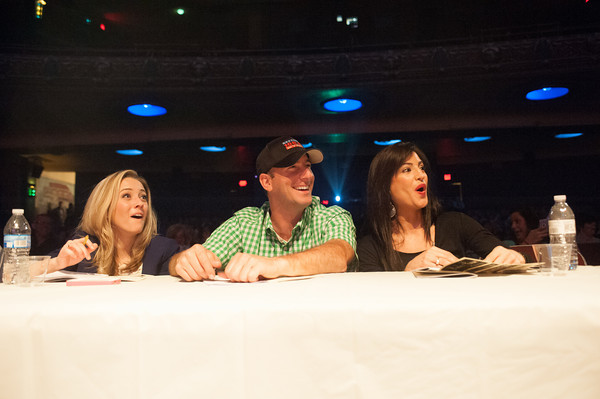 140510 Peaches JOED VIERA/STAFF PHOTOGRAPHER-Lockport, NY- Judges Tiffany Lundberg, Clay Moden and Ashlee Amoia react to a performance during the Peaches & Creme Fashion show at the Palace Theater. May 10, 2014