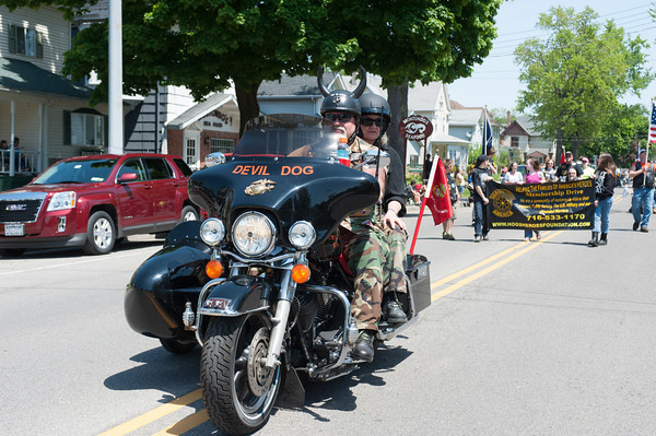 140525 Parade JOED VIERA/STAFF PHOTOGRAPHER-Lockport, NY-Members of the Devil Dogs ride thier motorcycle down East Ave during the Memorial Day parade May 25, 2014.