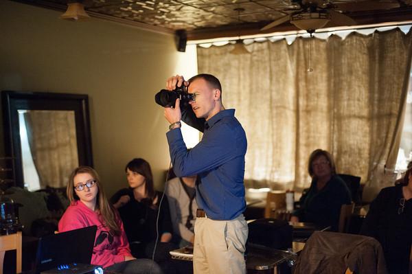 140319 PRIDE PHOTO CLUB JOED VIERA/STAFF PHOTOGRAPHER-Lockport, NY-Joe Mahley shoots photos at sweet sixteen cafe on Mar. 11, 2014.