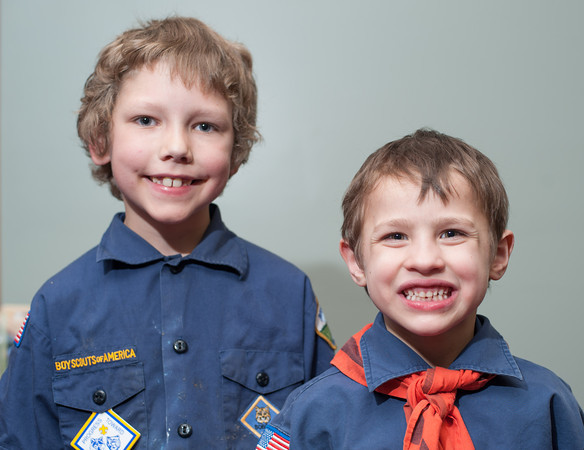 140506 Cub scouts JOED VIERA/STAFF PHOTOGRAPHER-Lockport, NY-Christopher Georgia and Austin Constable smile during the Cub Scouts visit to the US&J Newsroom. May 6, 2014
