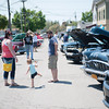 140525 3A Ent JOED VIERA/STAFF PHOTOGRAPHER-Olcott, NY- Cassie, Amelia (2), and Mike Long walk around the car show on Main St in Olcott May 25, 2014.