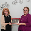 140505 Award JOED VIERA/STAFF PHOTOGRAPHER-Lockport, NY- Ellen Martin accepts the PRIDE Magazine 2014 Person of the Year Award from US&J Managing Editor Joyce Miles May 6, 2014