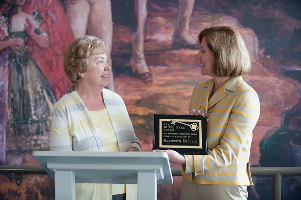 140510 Keys to the Locks JOED VIERA/STAFF PHOTOGRAPHER-Lockport, NY-Rosemary Bernard accepts the Key to the Locks Award from Mayor Anne McCaffrey at the Lockport Discovery Center. May 10, 2014