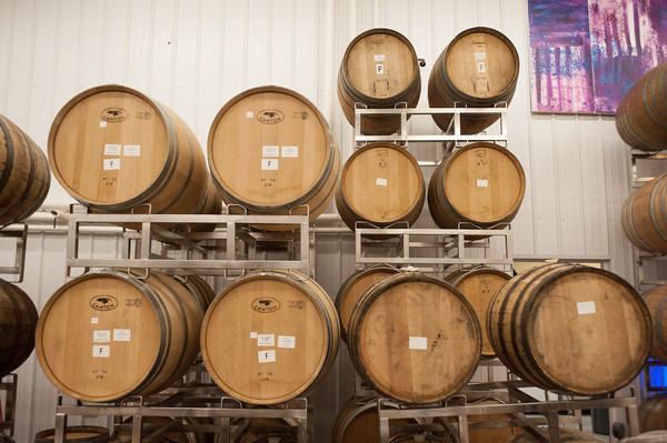 140319 Lockhouse JOED VIERA/STAFF PHOTOGRAPHER-Lockport, NY-Wine barrels age wine at Freedom Run Winery on Mar. 4, 2014.