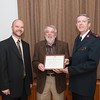140512 Salvation Army JOED VIERA/STAFF PHOTOGRAPHER-Lockport, NY-Salvation Army Board Chairman Tim Dombrowski(left) and Major John Wheeler(right) present an award to Ted Hadley. May 12, 2014