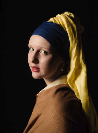 """140319 PRIDE PHOTO CLUB JOED VIERA/STAFF PHOTOGRAPHER-Lockport, NY-Rachel Winter poses as """"the Grils with the pearl earring"""" at sweet sixteen cafe on Mar. 11, 2014."""