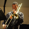 140428 Concert JOED VIERA/STAFF PHOTOGRAPHER-Lockport, NY-Lockport High School Senior Nse Obot performs a trombone solo during the concert with the Jazz Ensemble. April 29, 2014