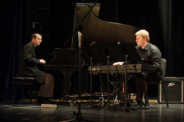 140428 Concert JOED VIERA/STAFF PHOTOGRAPHER-Lockport, NY-Special Guest Michael Van Allen and Lockport High School Junior Evan Dick play piano and keyboard during the concert with the Jazz Ensemble. April 29, 2014