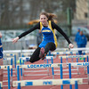 140501 LHS Track JOED VIERA/STAFF PHOTOGRAPHER-Lockport, NY-Brittany Sanford jumps hurdles during Lockport High schools track meet against Kenmore West. Sanford finished in second place. April 30, 2014