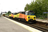 """30 May 2014 :: Despite concern about nearly being """"bowled"""" by the approaching Class 159, I just had time to take the picture of Colas 70805 and 70808 being taken light from Southampton Maritime to Hinksey as 0Z70 at Basingstoke.  They had been on short term hire to Freightliner"""
