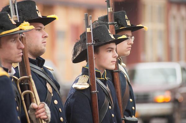 140426 MedinaReenactment VIERA/STAFF PHOTOGRAPHER-Medina, NY-Civil War reenactors march down Main St. April 26, 2014.