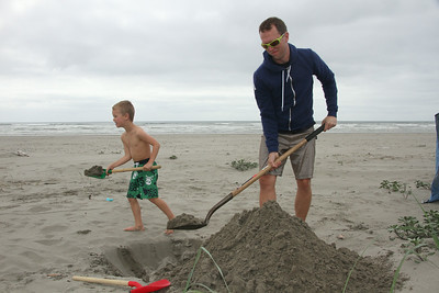 You need a real shovel to dig a real hole. Connor helps.