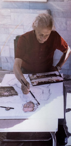 The artist painting a self portrait in 1981 at age 82.