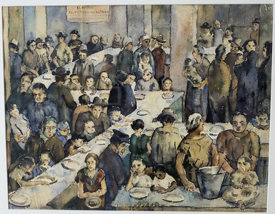 """Study for a mural titled """"Mesa vacia del niño hambriente"""" (empty table of the hungry child). One of about a dozen famous murals in the Palacio Municipal (now the state museum of Antioquia)."""