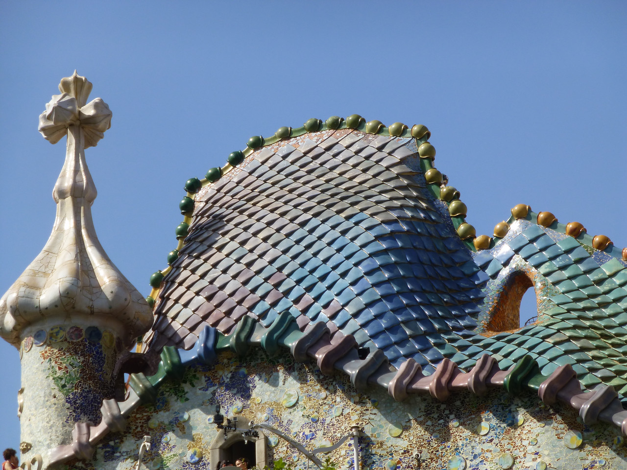 Roof of famous Gaudi Casa Battló on Passeig de Gracia