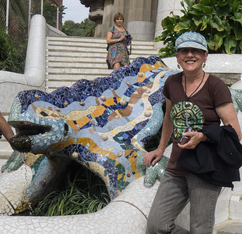 Lois at the emblematic salamander in Gaudi's Parc Guell