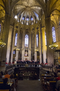 "Catedral Basílica Metropolitana de Barcelona, with the choir singing ""How Can I Keep From Singing?"",  with music written by American Baptist minister Robert Wadsworth Lowry"