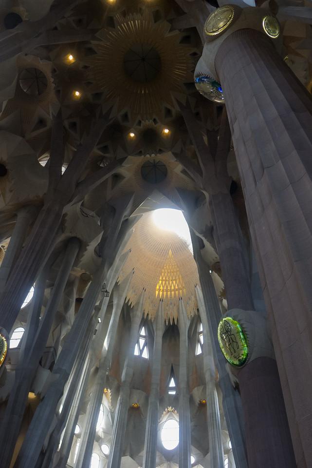 Inside the famous Gaudi Basílica de la Sagrada Familia