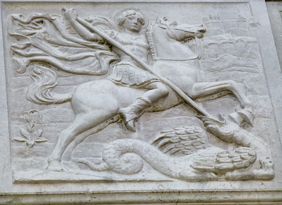 Frieze on the facade of St. George's Anglican Church - in Venice!