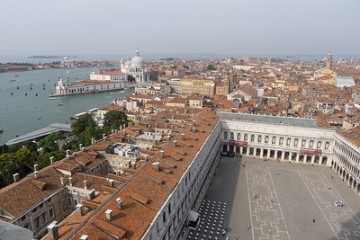 From the Campanile, Piazza San Marco, with the Grand Canal, Dorsoduro, the Giudecca Canal. and La Giudecca in the background.