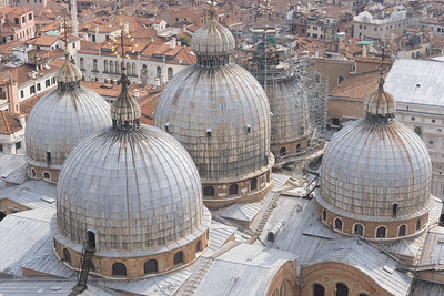 The five domes of Basilica San Marco, from the top of the Campanile.