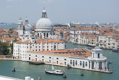 Turning up the Canale della Giudecca, past the Punta Dogana and  the Santa Maria della Salute church.
