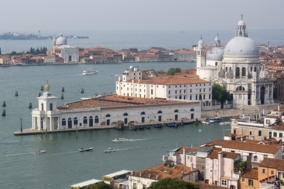 From the Campanile, Punta Dogana and the Santa Maria Della Salute church separating the Grand Canal from Canale della Giudecca.