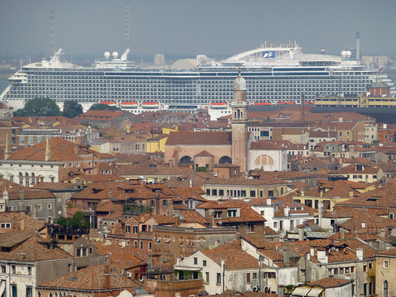 From the Campanile, looking west over the Sestieri of San Marco, Dorsoduro, San Polo, and San Croce to the Regal Princess, berthed in the Bacino Stazione Marittima.