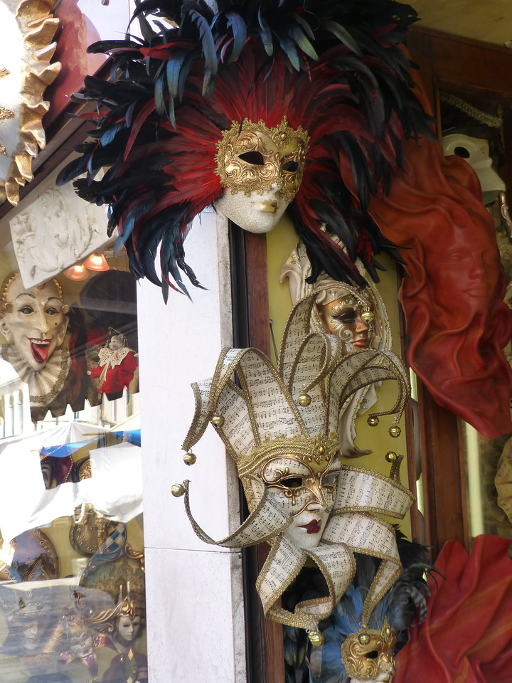 Carnival masks are emblematic, and omnipresent in Venice