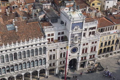 Torre dell'Orologio (1499) on Piazza San Marco, seen from the top of the Campanile
