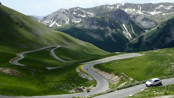 The road to Col de la Bonette from the Val  Tinée.   This is the highest paved through pass in the Alps at 2715m!
