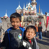 Boys at the disneyland castle. We spent 3 days at Disneyland/California Adventure